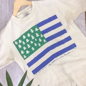 Vintage 90s Liberty Organics USA Trees Graphic Tee